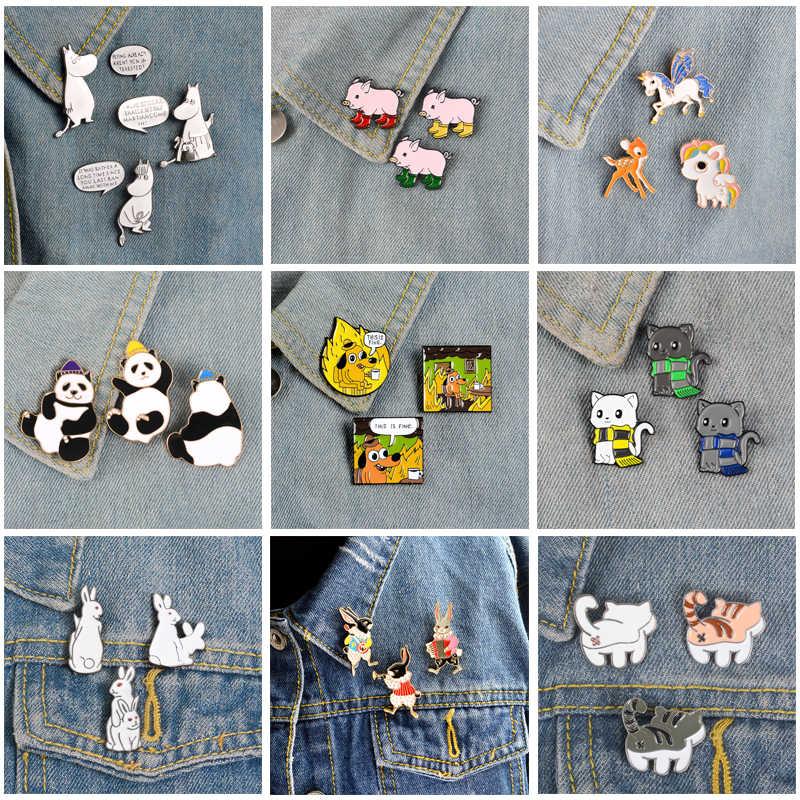 をqihe qh-ジュエリー動物セットピンユニコーンカバ豚パンダ猫犬ウサギブローチバッジ楽しい友人ギフト用バックパック