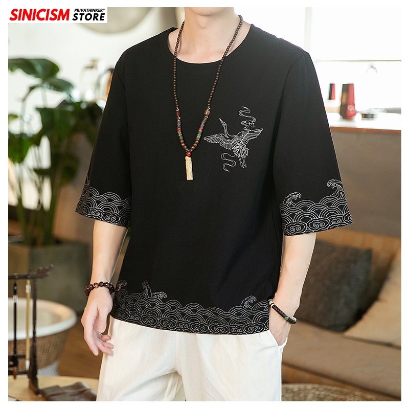 Sinicism Store 2020 Men Chinese Style Solid O-neck T Shirt Men's Summer Vintage T Shirts Male Fashion Loose Clothes Oversize 5XL