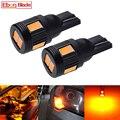 Автомобильный светодиодный светильник T10 W5W t 10 5w5 194 SMD, для чтения интерьера автомобиля, боковая клиновидная лампа, желтая, оранжевая, янтарн...