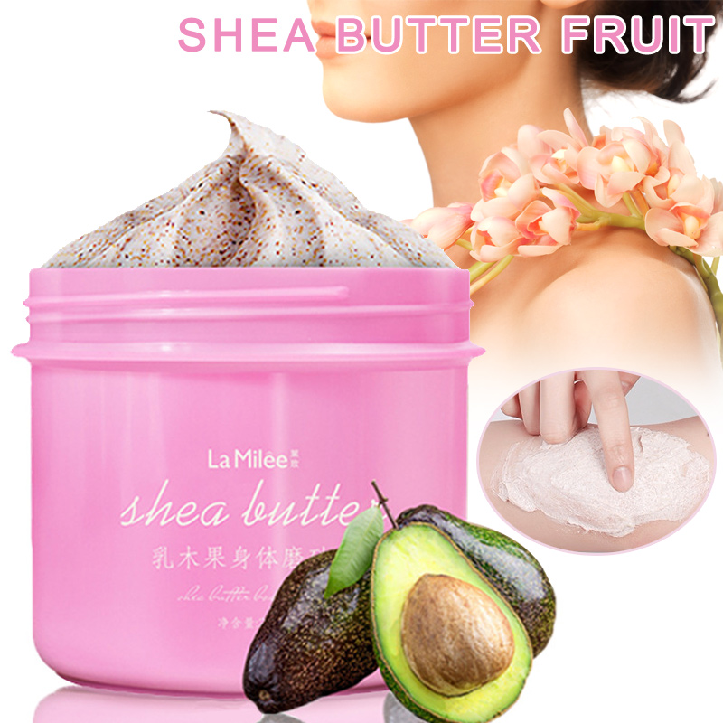 Body Scrub Exfoliating Gel Cream Shea Butter Fruit Skin Whitening Skin Moisturizing 250g OR88