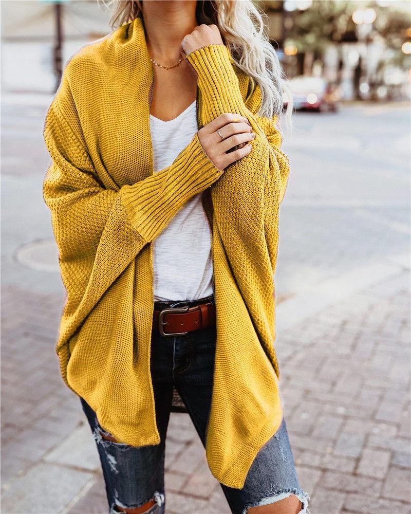 2019 Autumn New Casual Solid Color Bat Sleeve Long Sleeve Irregular Knit Cardigan Sweater Jacket