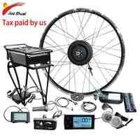 Kit de conversión en bicicleta eléctrica, conjunto de elementos para transformar bici en eléctrica, rueda delantera de 36V, 48V, 250W, 350W y 500W, batería en portaequipajes trasero, 20