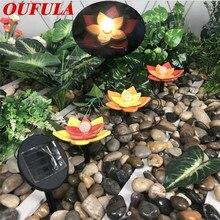 OUFULA солнечный свет лужайки Сид керамические лотоса напольный светильник открытый водонепроницаемый сад двор пейзаж украшения