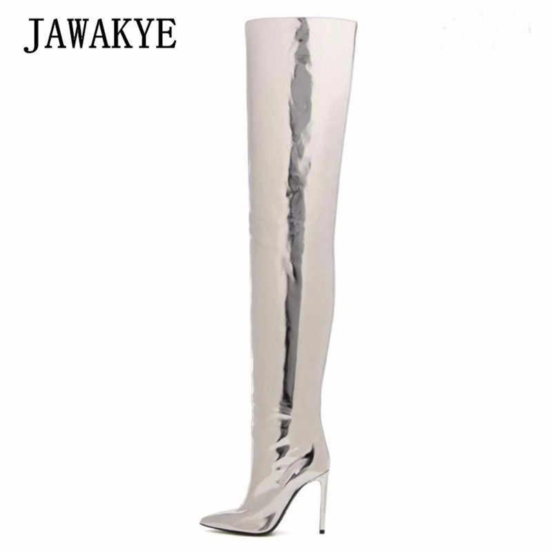 2017 Seksi Gümüş Ayna Deri Diz Çizmeler Üzerinde Kadın Sivri Burun Yüksek Topuk Ayakkabı Kadın Moda yarım çizmeler