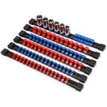 ABS Socket Organizer Drive Socket Holder, 1/4 inch Drive x 32 Clips, 3/8 inch Drive x 30 Clips, 1/2 inch Drive x 24 Clips,6 Piec