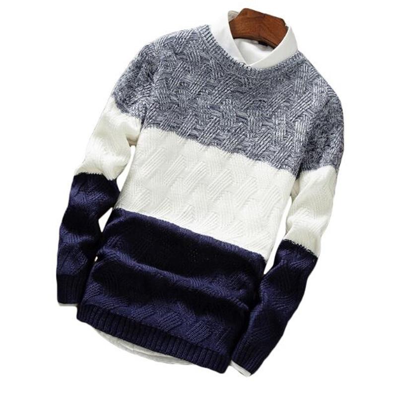 Zogaa Winter Sweater Pullovers Knitwear O-Neck Long-Sleeve Male Striped Men Casual Fashion