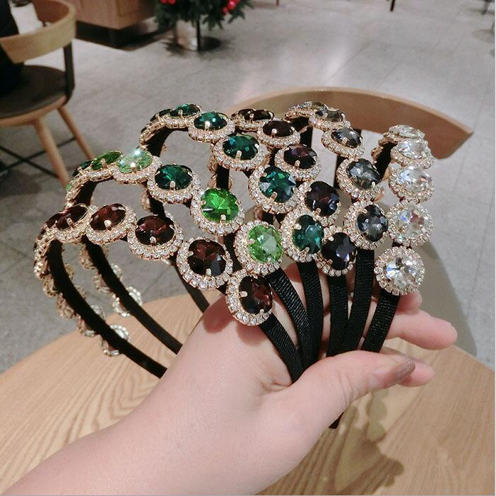 Women Colorful Rhinestone Big Gem Headbands BingBing Hairbands Wild Princess Sweet Retro Hair Accessories Female