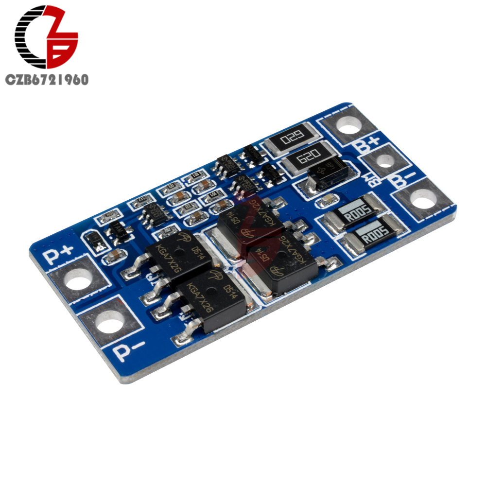 2S 10A 8.4V 7.4V 18650 Lithium Battery Protection Board BMS PCM PCB Li-ion Lipo 2 Cell Pack Balance Function Charger Protect