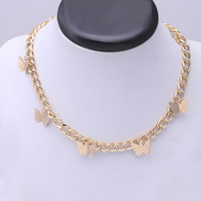 Collar elegante de mariposa de cadena gruesa dorada para mujer, gargantilla de moda callejera, Vintage, fuerte, estética, Punk, collares, joyería para chica