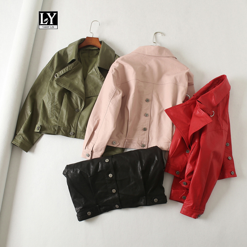 Ly Varey Lin Women Faux Leather Jacket Batwing Sleeve Vintage Biker Short Coat Motor Faux Pu Red Black Pink Street Leather Coats