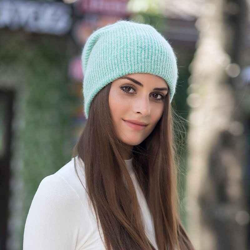 2019 Nieuwe Eenvoudige Konijnenbont Beanie Hoed Voor Vrouwen Winter Skullies Warm Zwaartekracht Valt Cap Gorros Vrouwelijke Cap