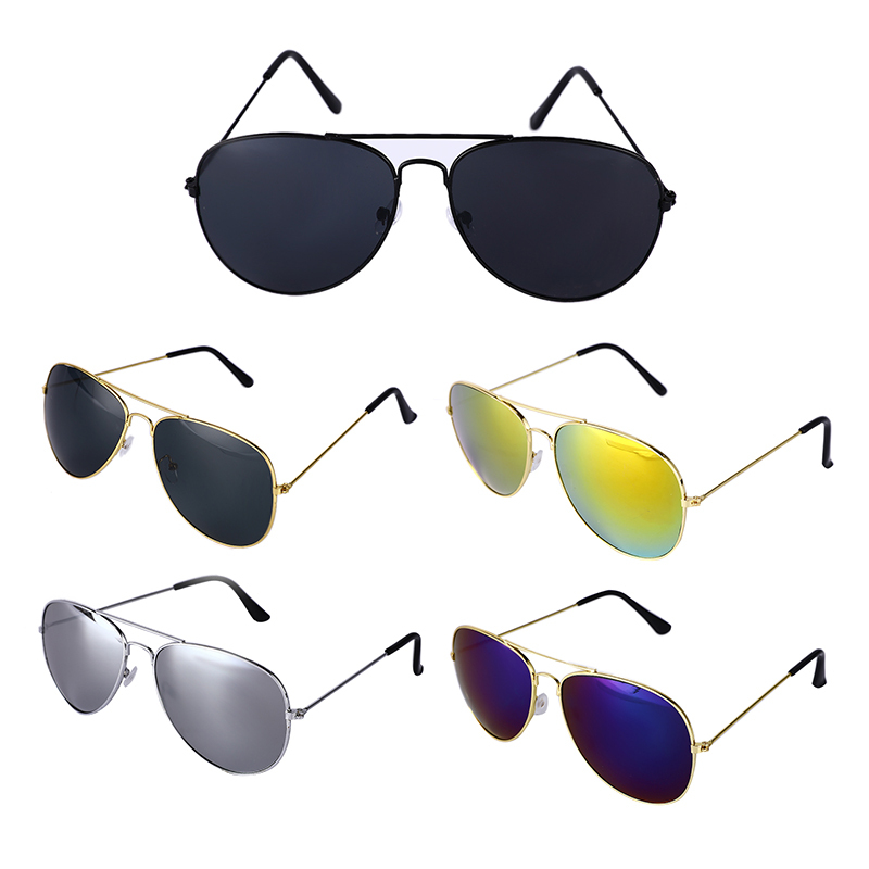 Cool Aviator Sunglasses Vintage Reflective Driver Metal Glasses Unisex UV400 Camping Hiking Eyewear For Men Women