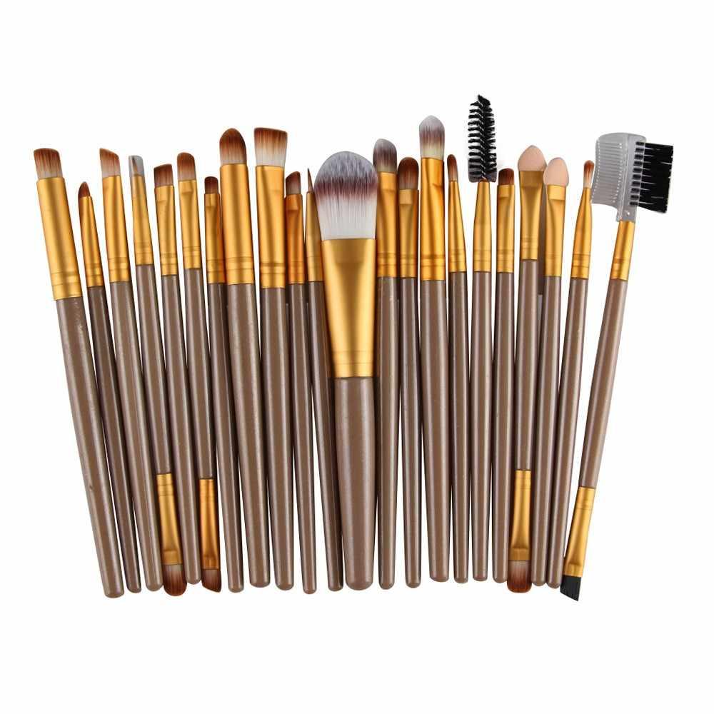 22 unids/set de brochas de maquillaje con mango de madera, artículos de tocador, brochas de maquillaje de lana, base, sombra de ojos, brocha de maquillaje