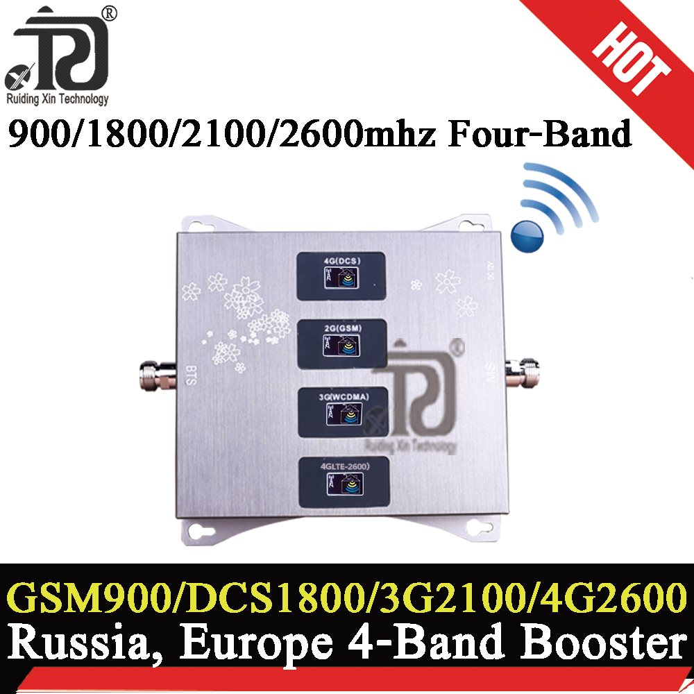 900/1800/2100/2600mhz Four-Band 4g Network Cellular Amplifier 2G 3G 4g Mobile Signal Booster LTE UMTS GSM DCS 4G Signal Repeater