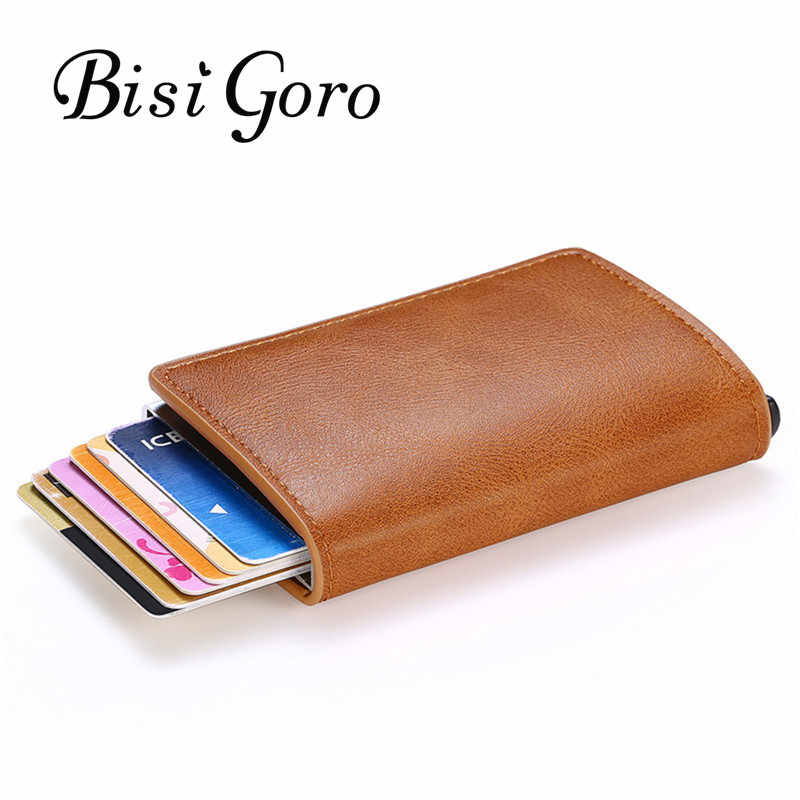 BISI GORO 2020 Anti-theft Credit Card Holder RFID Wallet Aluminum Box Slim Wallet RFID Holder Card Case Business Card Wallet