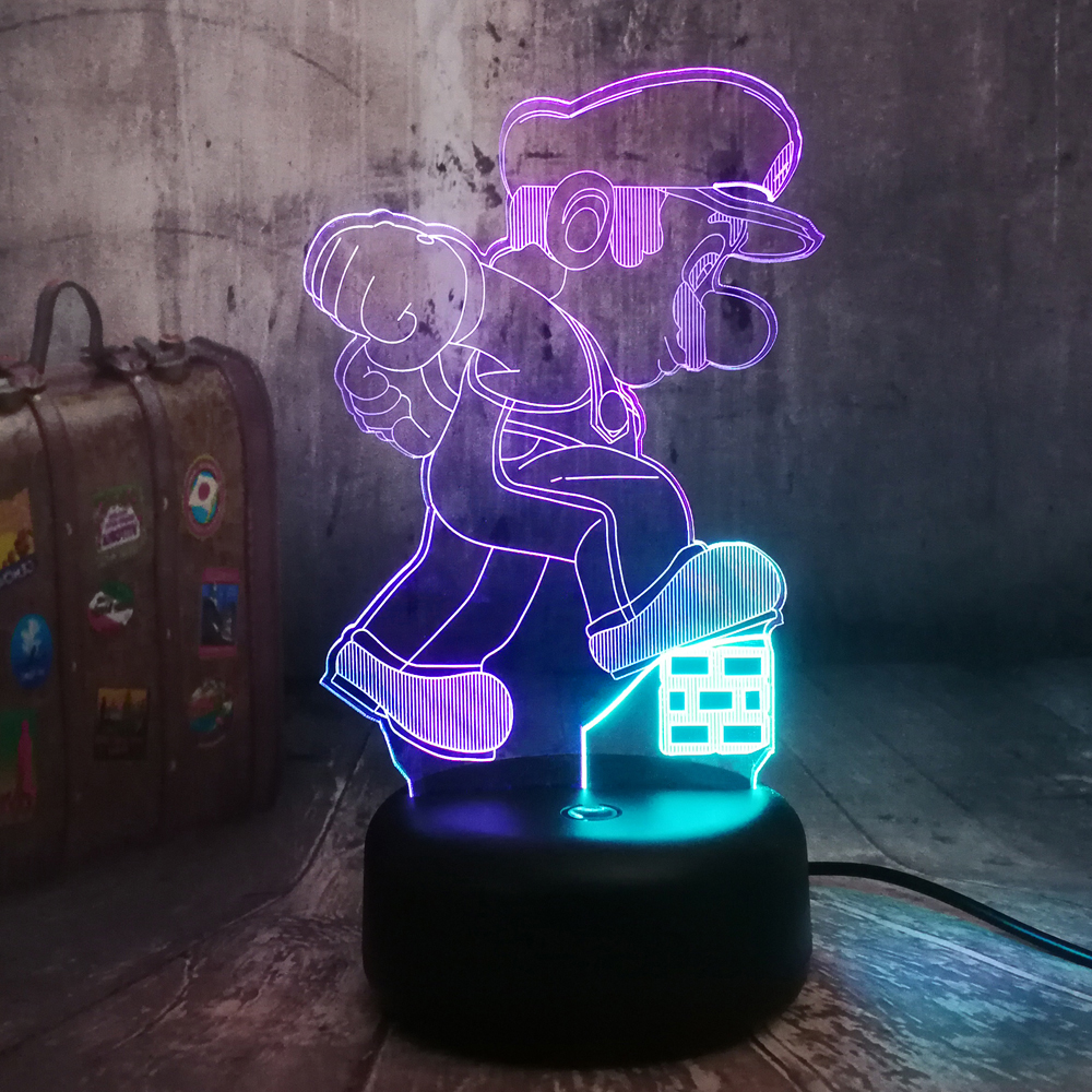 Game Super Mario 3D Optical Illusion Mixed Color RGB USB Remote Table Lamp Night Light Bedroom Decor Birthday Christmas Gift