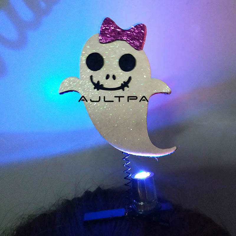 120Pcs New Led Light Hair Clip Pumpkin Wizard Hairgrip Halloween Party Children Funny Hair Flashing Accessories H4833