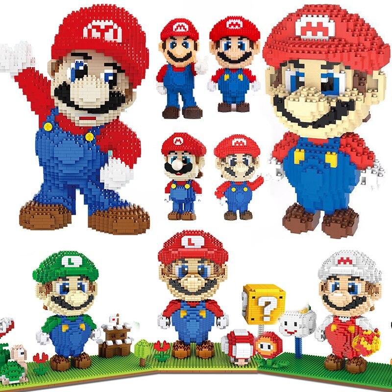 Super Mario Bros фигурка микро блоки Bross свадебный день Святого Валентина алмаз мини строительные комплекты кирпичей детские игрушки Brickheadz компле...