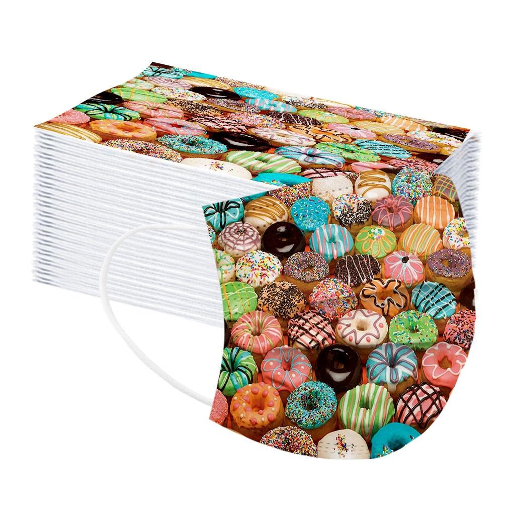10 шт., одноразовые маски для лица с рисунком пончиков