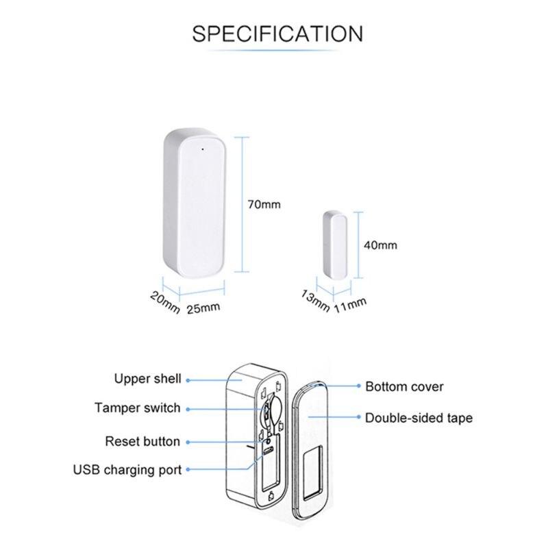 Capteur de fenêtre de porte intelligente 2.4GHz WiFi alarme maison Se cartes mémoire - 3