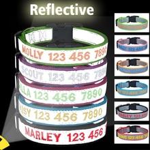 Reflective Dog Collars Luminous Dog Collar Personalized Custom Collar Name Phone Number Nylon Dog Necklace Small Large Puppy