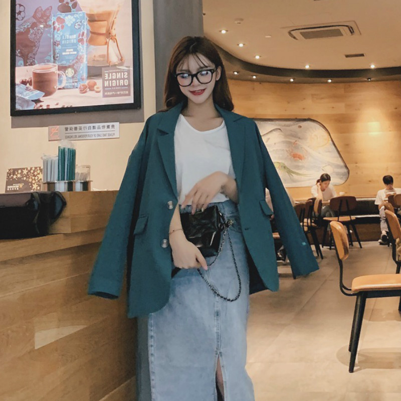 Autumn New Solid Color Ladies Jacket Vintage Casual Single-breasted Large Size Loose Women's Blazer 2019 New Women's Clothing