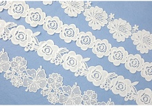 Spot hollow water soluble barcode milk silk embroidery lace high quality lace fabric underwear curtain clothing accessories milk silk water soluble embroidery lace computer embroidery unilateral wave lace barcode clothing accessories