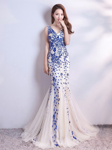 Image 3 - Sleveless Evening Dresses Elegant Mermaid Formal Dress Tull Sequind Prom Gown  Lace Robe De Soriee Long Evening Party Dress