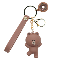 New Legal copy Cartoon Brown Bear Key Chain Cute Dinosaur Frog Pig key chains Toys Keyring For kids Woman gifts