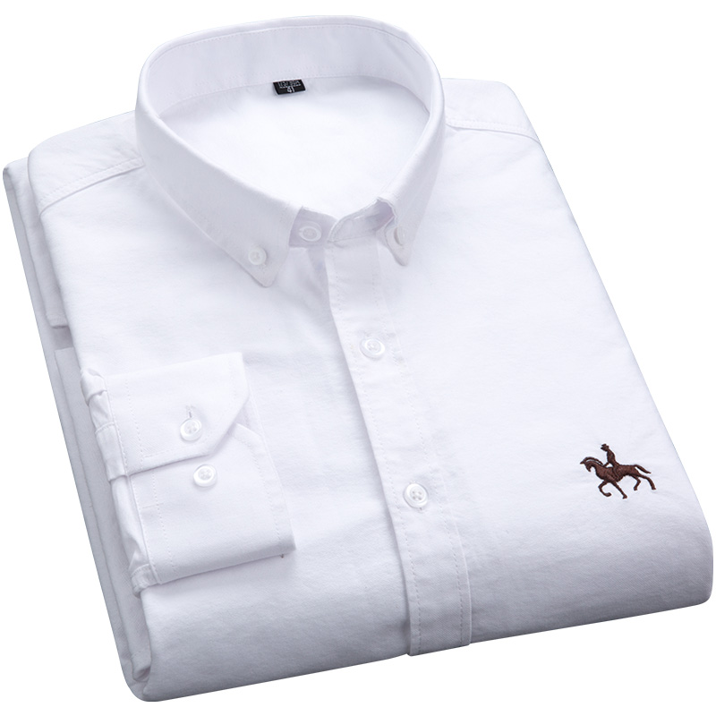 S-6XL Plus size New  OXFORD FABRIC 100% COTTON excellent comfortable slim fit button collar business men casual shirts tops 2