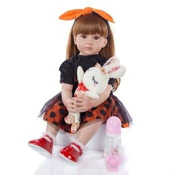 Handmade 24 Inch Reborn toddler bebe girl Dolls Cloth Body Stuffed 60 cm princess Reborn Babies Toy For Kids Birthday Gifts
