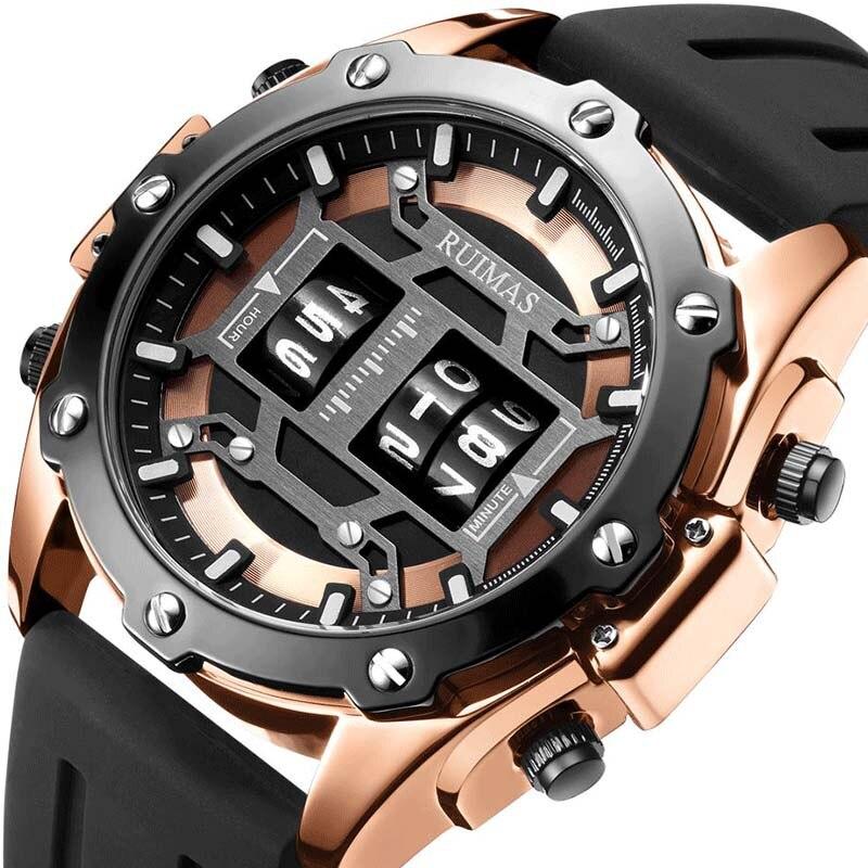 Marca de Luxo Rolo de Tambor Relógio de Pulso Ruimas Relógios Homens Quartzo Digital Masculino Relógio 2020 Novo Militar Homem 553 Top
