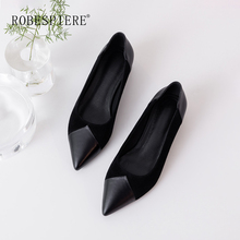 ROBESPIERE Women Pointed Toe Pumps High Quality Kid Suede Mixed Colors Lady Low Heels Shoes New Slip On Casual Party A81