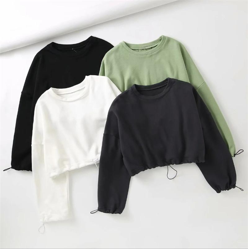 Musuos Women's Sweatshirts Solid Casual Plain Crop Tops Long sleeve Round Neck Pullovers Autumn Spring Sweatshirt Outwear S XXL