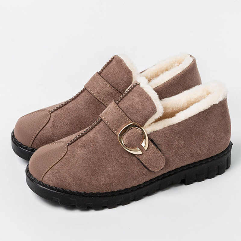 Kadın kar botları kış sıcak kısa peluş Moccasins bayanlar toka kayış kayma düz kısa çizmeler kadın moda rahat ayakkabılar