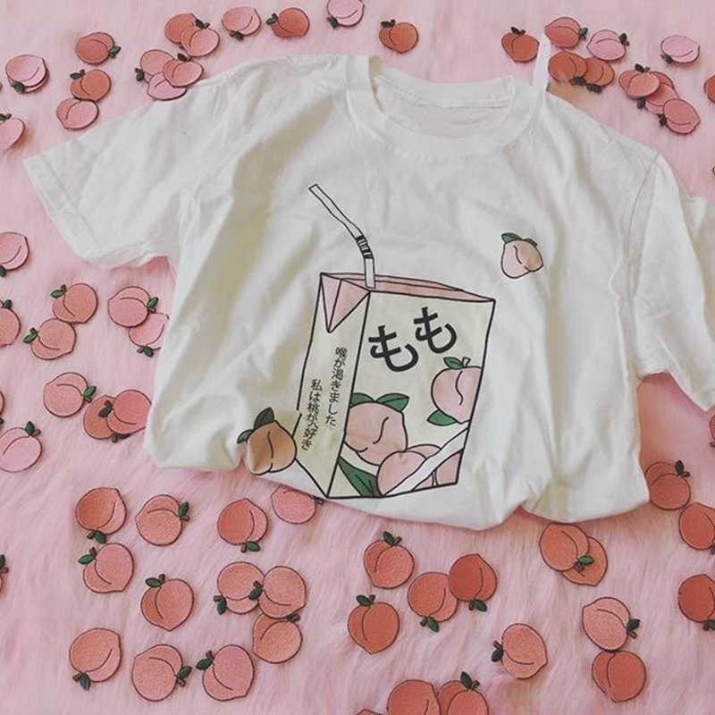 Zomer Casual Tumblr Outfit Mode Top Perzik Sap Japanses Esthetische Grunge T-shirt Vrouwen Meisjes 90 S Kawaii Wit Gosha Tee