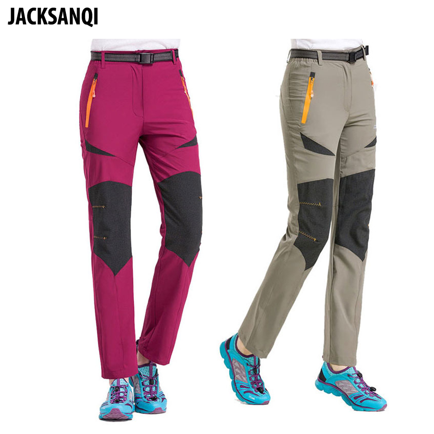 JACKSANQI New Women Stretch Quick Dry Hiking Pants Summer Waterproof Sports Outdoor Trekking Camping Trousers Female Pants RA242