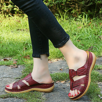 2020 Summer Women Wedge Sandals Premium Orthopedic Open Toe Sandals Vintage Anti-slip Leather Casual Female Platform Retro Shoes 6