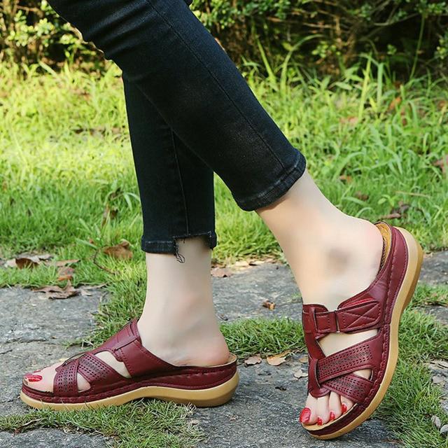 2020 verão sandálias de cunha feminina premium ortopédica dedo do pé aberto sandálias de couro antiderrapante vintage casual feminino plataforma sapatos retro 6