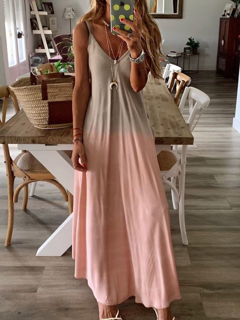 Summer Sexy Off Shoulder V-neck Print Dress Women Casual Sleeveless Long Party Dress Autumn Ladies Spaghetti Straps Dresses