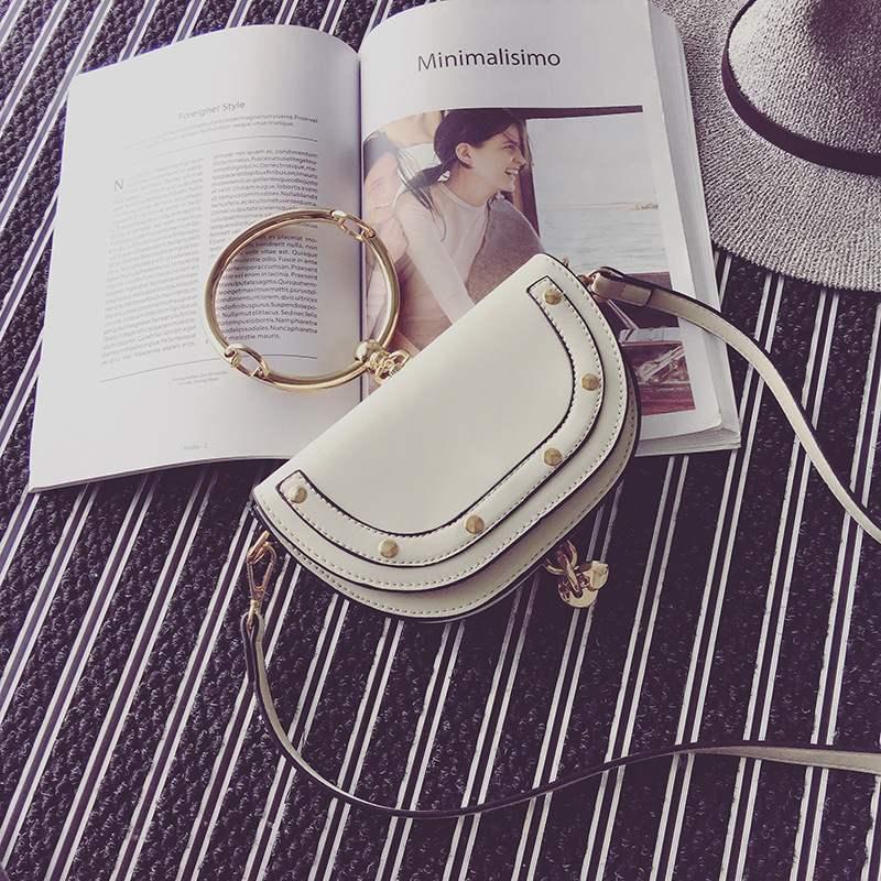 Single-Shoulder Bag For Women Of The New Women's Bags European And American Fashion Metal Ring Handbag Flip Bag
