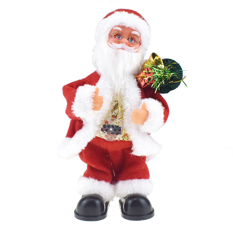 Creative Novelty Belly Light Included Back Gift Bag Dancing Santa Claus Doll With Music Electric Toys Gift