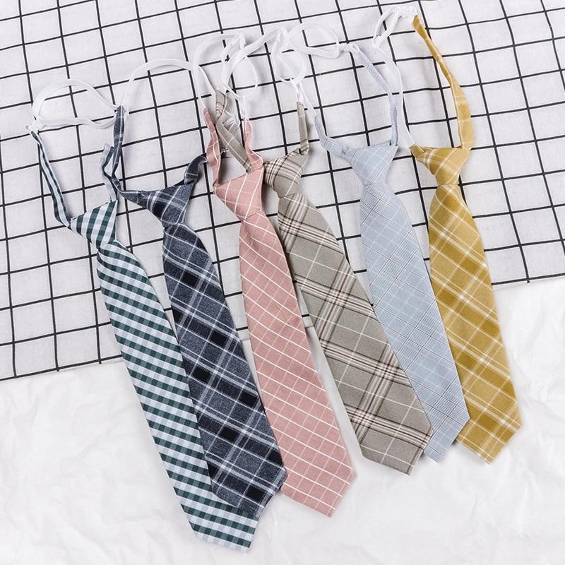Japanese Zipper Tie Lazy Tie Fashion 7cm Boy Girl Necktie For Man Skinny Slim Narrow Student Party Dress Wedding Necktie Present