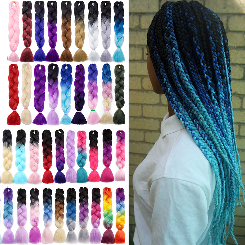 Hair-Extension Braiding-Hair Crochet Pink Purple Blue Synthetic African Ombre Women Long title=