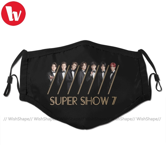 Super Junior Kpop Mouth Face Mask Super Junior Super Show Facial Mask Fashion Funny with 2 Filters for Adult