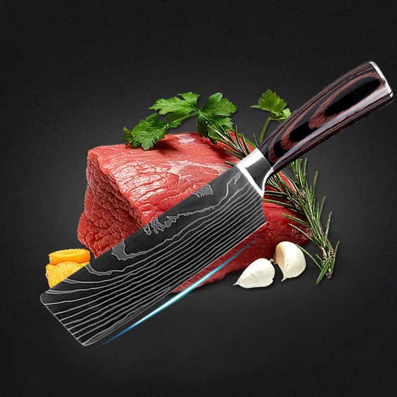9 Uds Juego de cuchillos de cocina Damasco láser Patten profesional japonés cortar deshuesado Cleaver Set de cuchillos de Chef 440C de acero inoxidable