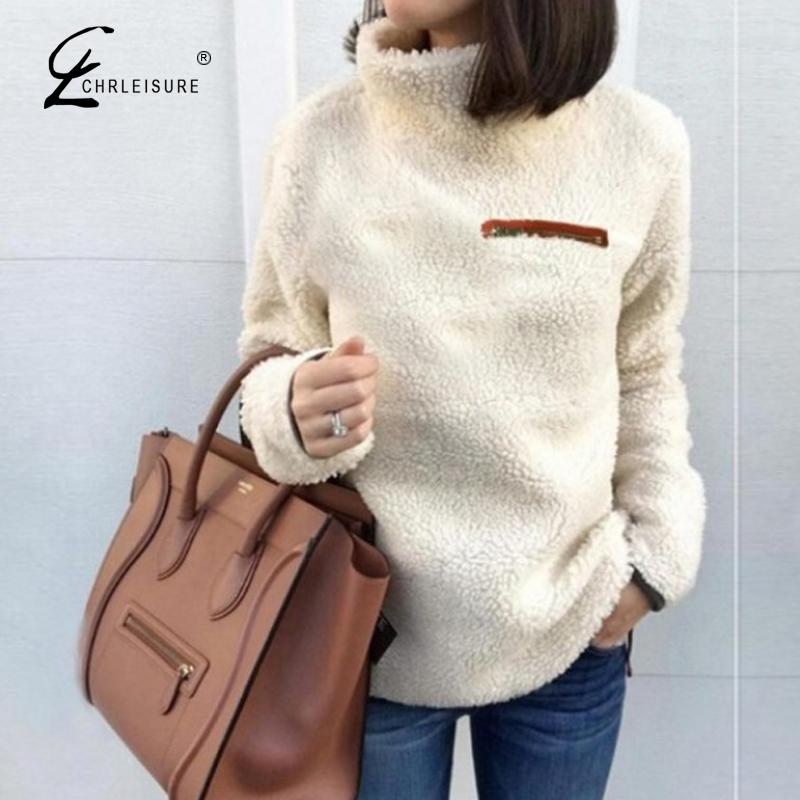 CHRLEISURE Autumn And Winter Warm Velvet Women Sweatshirt Fashion Turleneck Long Sleeve Female Hoodies Casual Women Clothing