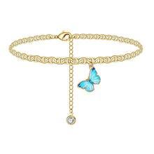 Новый Модный изысканный ножной браслет с подвеской бабочкой