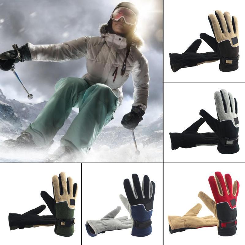 Зимние флисовые теплые перчатки для мужчин и женщин, взрослые уличные мотоциклетные велосипедные ветрозащитные перчатки с закрытыми пальц...
