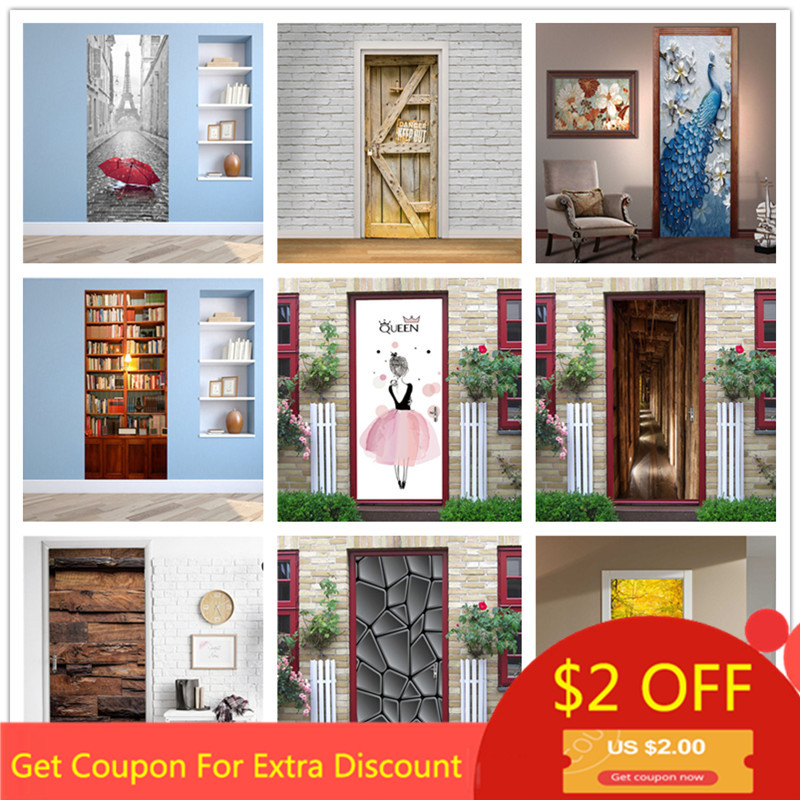 Custom Size/77*200CM  Tower Door Sticker DIY Waterproof Self Adhesive Wallpaper Stickers On The Doors Home Decor Poster Decals